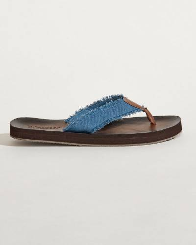Raw-Edge Strap Flip Flops in Denim