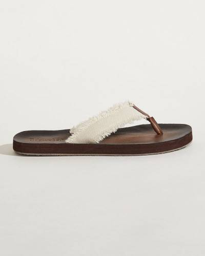Raw-Edge Strap Flip Flops in Ivory