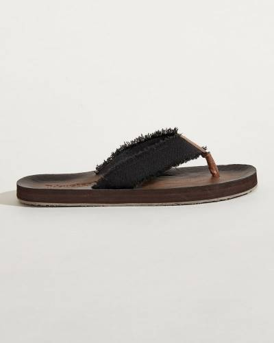 Raw-Edge Strap Flip Flops in Black