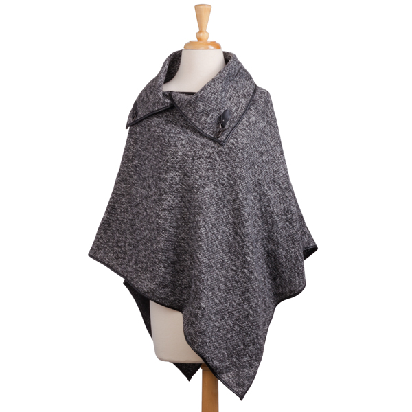 The Paper Store Black Tweed Poncho