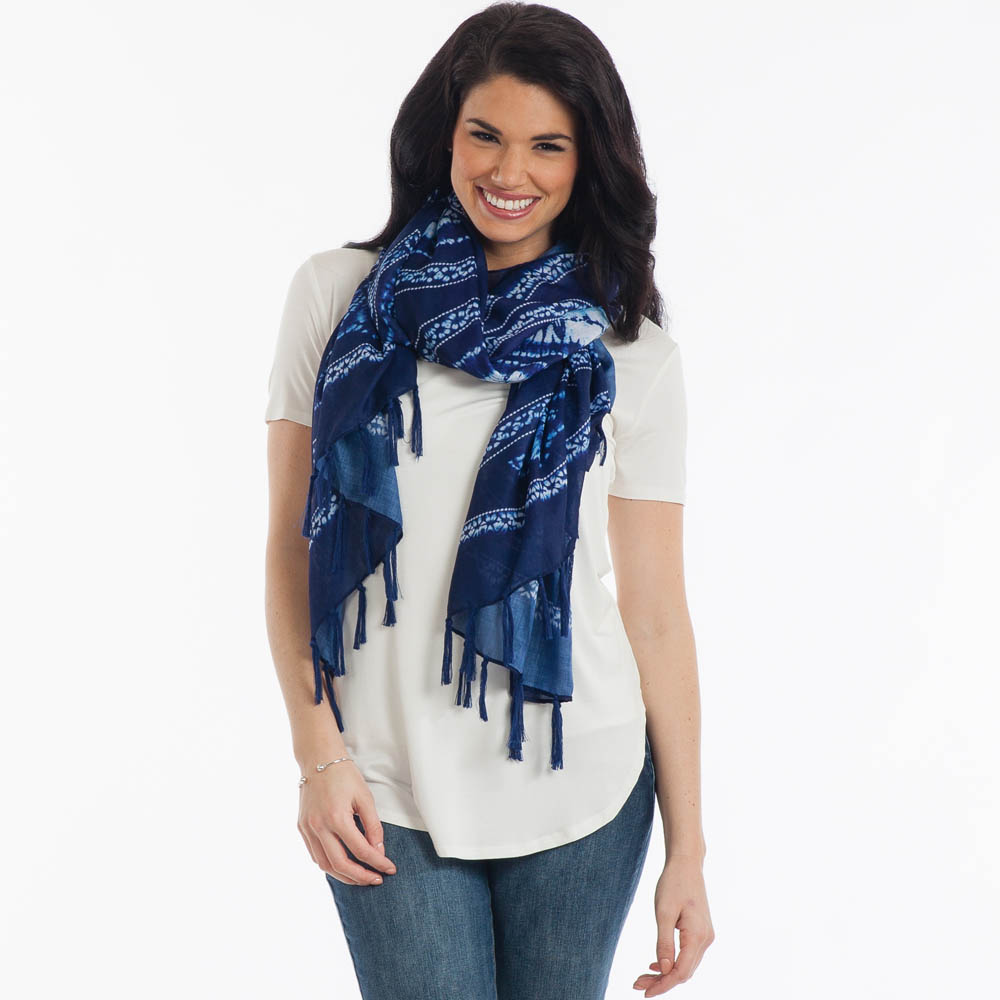 Contempo Tie Dye Floral Paisley Scarf in Navy Blue