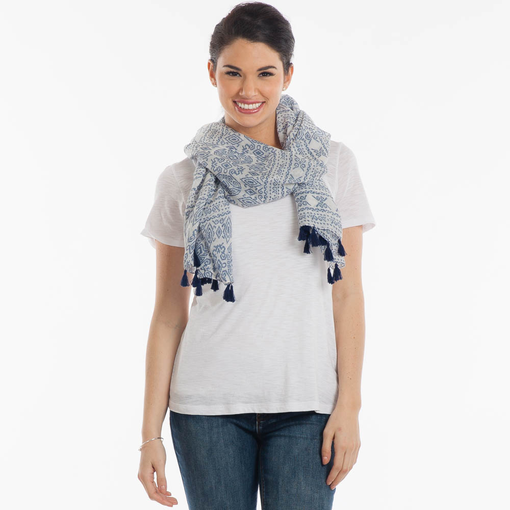 Contempo Aztec-Print Scarf with Tassels