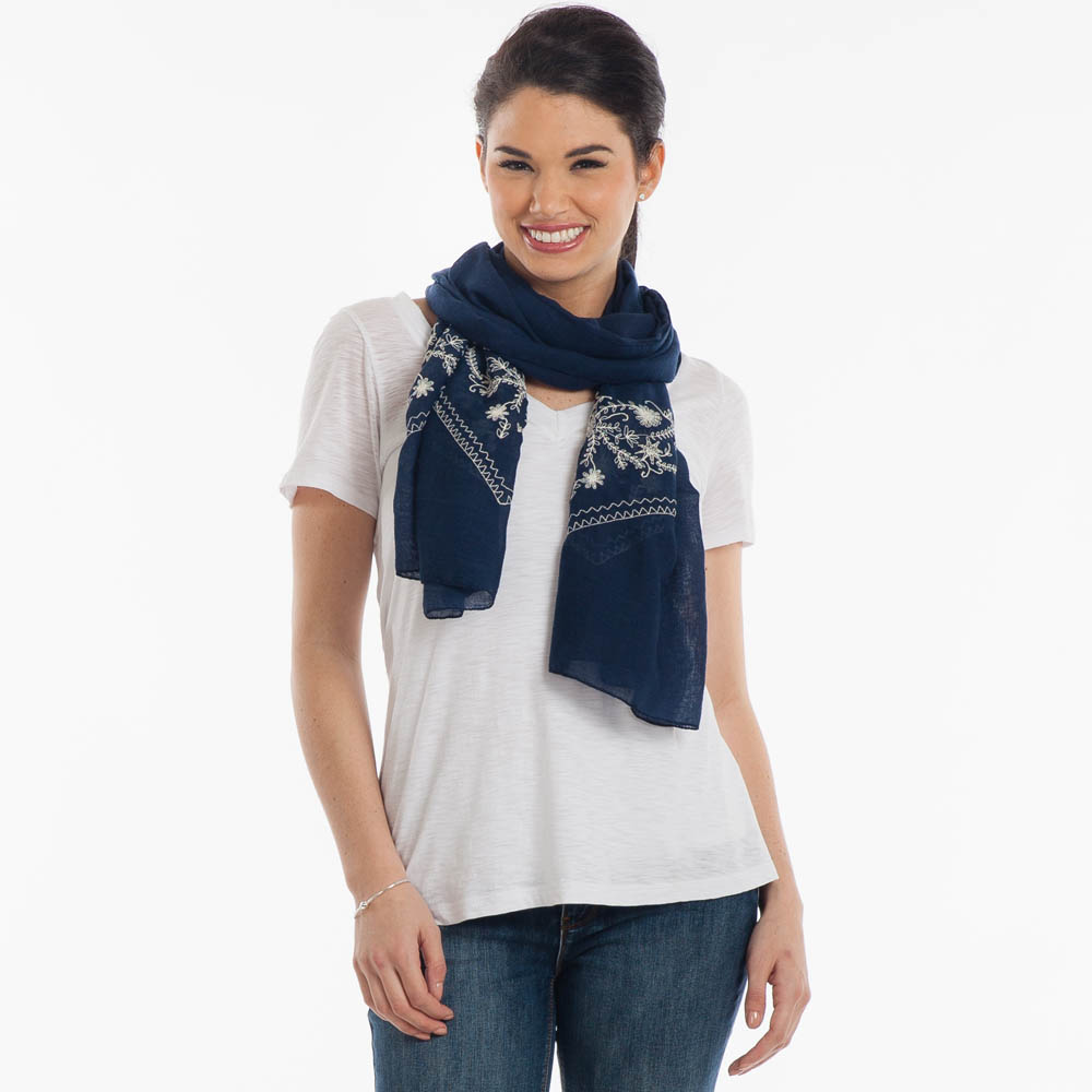 Contempo Floral-Embroidered Scarf