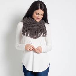 Contempo Metallic Infinity Scarf with Fringe in Grey