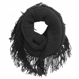 Contempo Metallic Infinity Scarf with Fringe in Black