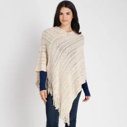 Contempo Knit Fringe Poncho in Ivory
