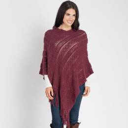 Contempo Knit Fringe Poncho in Burgundy