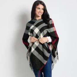 Contempo Plaid Poncho