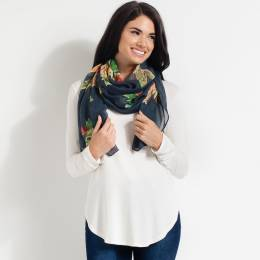 Contempo Floral Print Scarf in Denim Blue