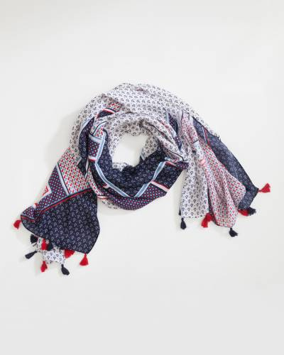 Nautical Pattern Scarf with Tassels