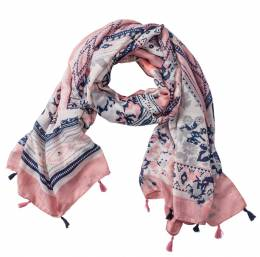 The Paper Store Print Scarf with Tassels