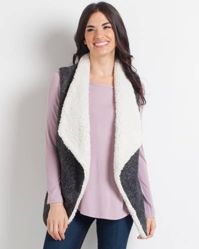 Faux Sherpa-Lined Tweed Vest
