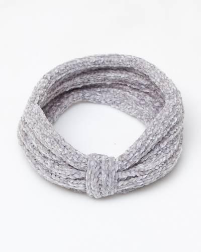 Knit Chenille Headband in Grey
