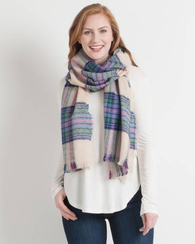 Tan and Pink Plaid Blanket Scarf