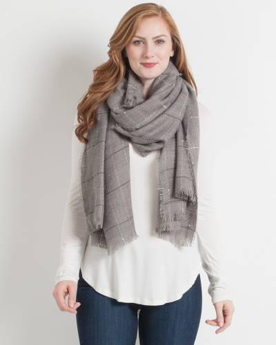 Grey Window Pane Blanket Scarf