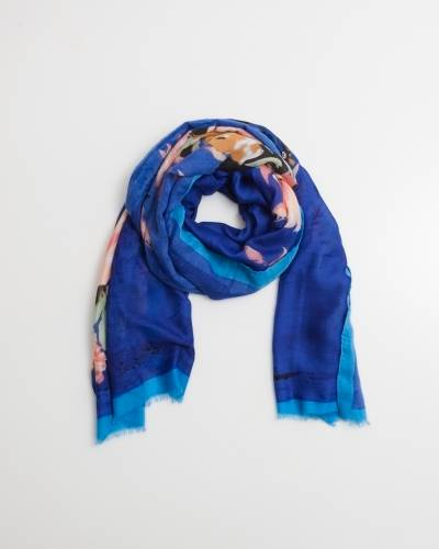 Exclusive Bordered Blue Floral Scarf
