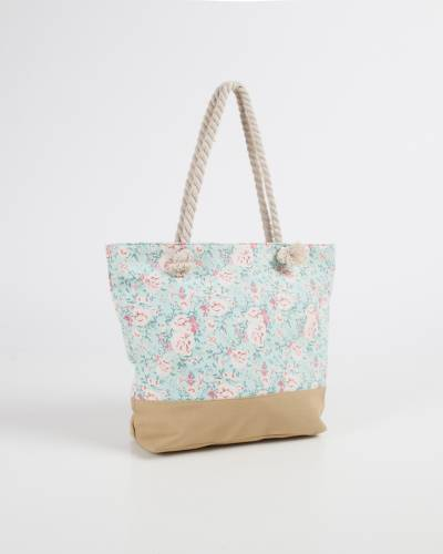 Rope Handle Tote in Mint Floral