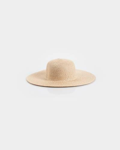 Wide Brim Hat in Heathered Beige