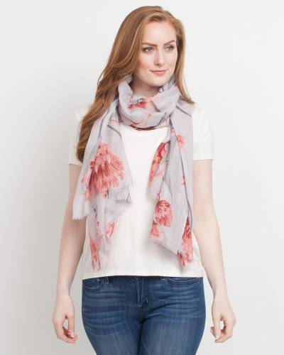 Exclusive Floral Blanket Scarf in Grey