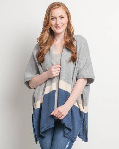 Exclusive Kimono Poncho in Grey and Navy