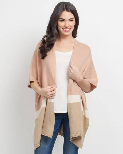 Exclusive Kimono Poncho in Rose and Tan