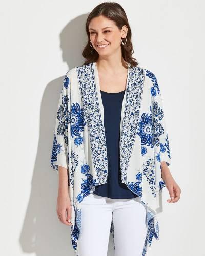 Floral Print Kimono in White and Blue