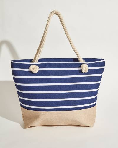 Rope Handle Tote in Blue and White Stripes