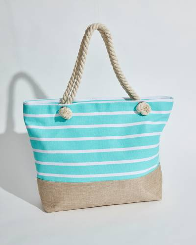 Rope Handle Tote in Mint and White Stripes