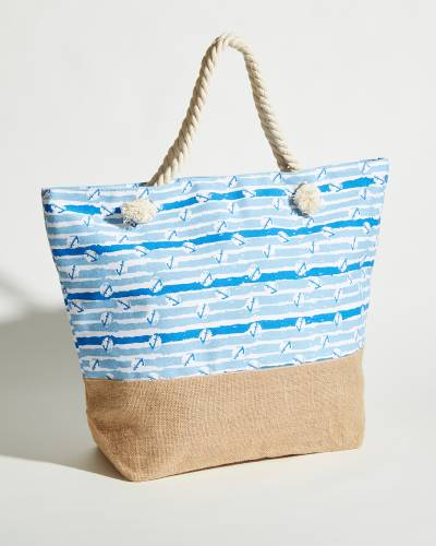 Rope Handle Tote in Blue Anchor Stripes