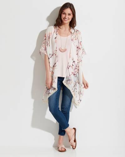 Pink and Tan Floral Kimono