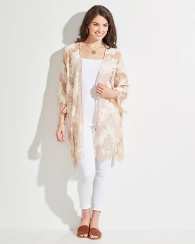 Exclusive Floral Kimono in Tan and White