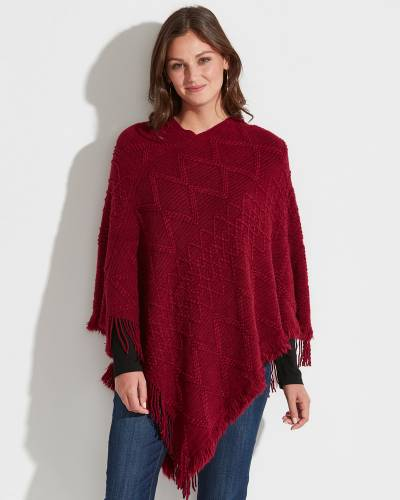 Exclusive Zig Zag Fringe Knit Poncho