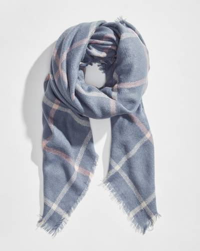 Exclusive Chambray Plaid Blanket Scarf