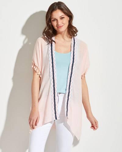 Center Stripe Kimono in Blush