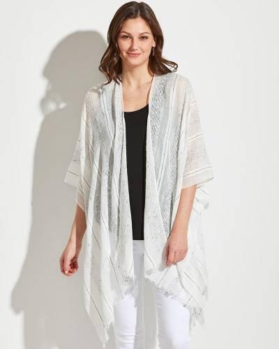 Textured Stripe Kimono in White