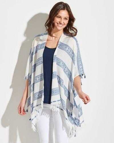 Striped Tassel Kimono in Blue and White