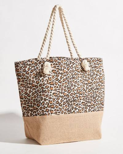 Leopard Print Beach Bag with Rope Handles