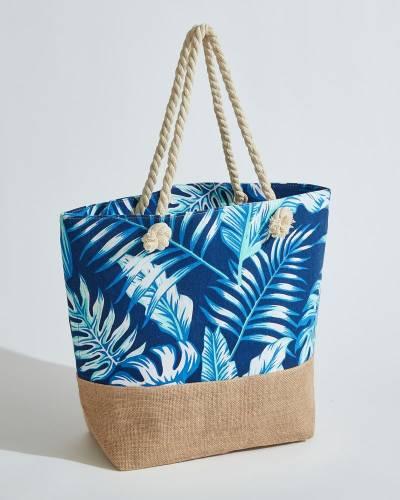 Palm Leaf Print Beach Bag