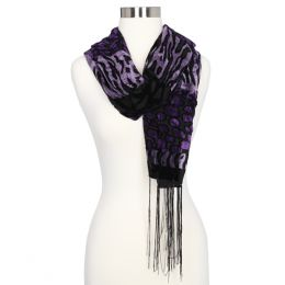 LVS Collections Animal Print Burnout Scarf