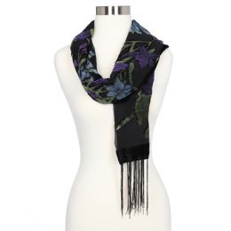 LVS Collections Floral Burnout Scarf