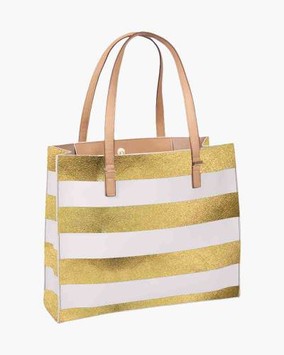Stripe Tote in Gold