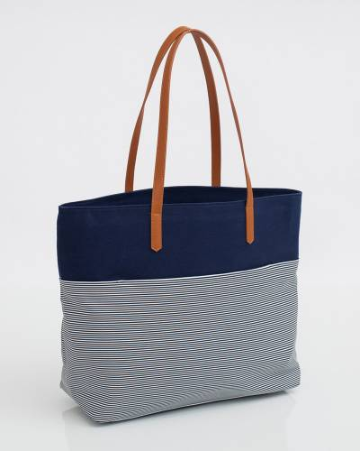 Stripe Tote in Navy Blue