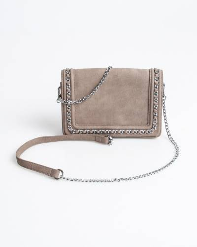 Chain-Trim Crossbody Bag in Taupe