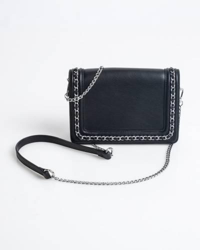 Chain-Trim Crossbody Bag in Black