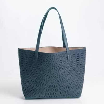 Laser-Cut Tote Bag in Blue