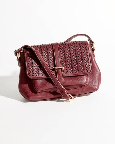 Perforated Snap Front Crossbody Bag