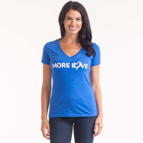 The Paper Store More Love Women's V-Neck Tee in Blue