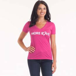 The Paper Store More Love Women's V-Neck Tee in Pink