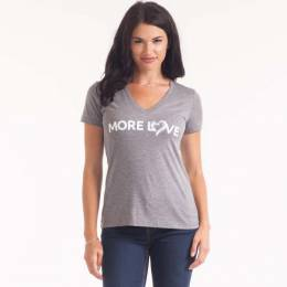 The Paper Store More Love Women's V-Neck Tee in Light Grey