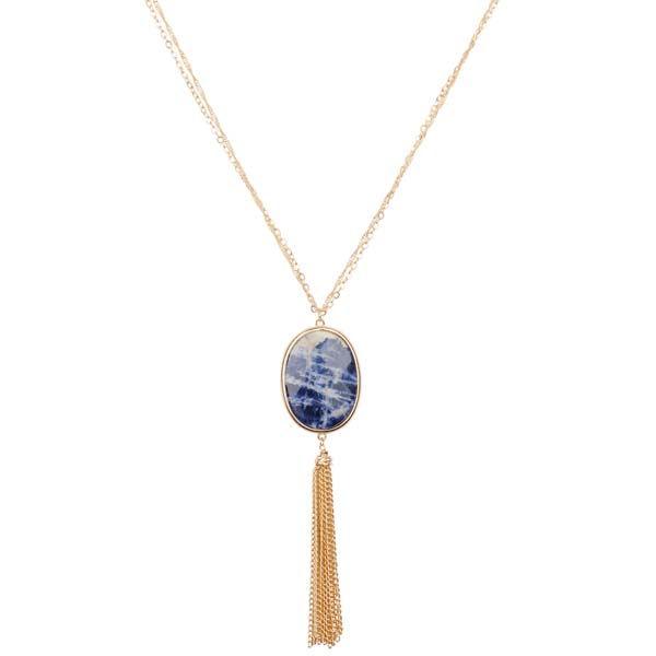 Mia and Tess Stone Pendant Tassel Necklace